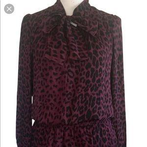 Parker wine colored leopard mini dress, size M